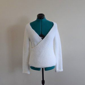 White Wrap Long Sleeve V-Neck Eyelash Sweater